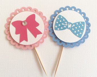 10 Gender Reveal Party Cupcake Toppers-Bows & Bow Ties