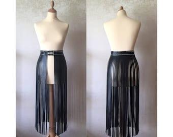 "Leather fringe belt ""Kylie Jenner belt"" style Shimmy & Shake long skirt"