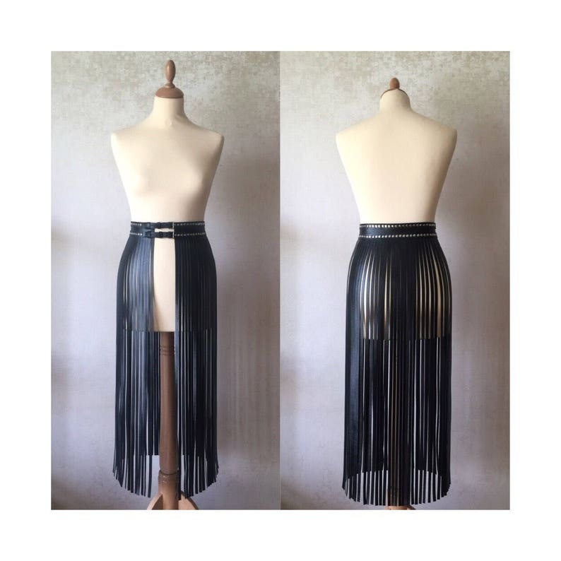 Leather fringe belt skirt black burning man high waisted image 0