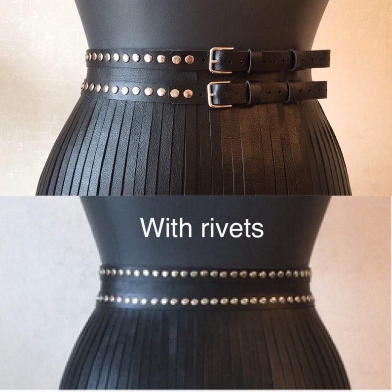 Overlay leather fringe skirt overskirt belt long rivets dress rock club wear