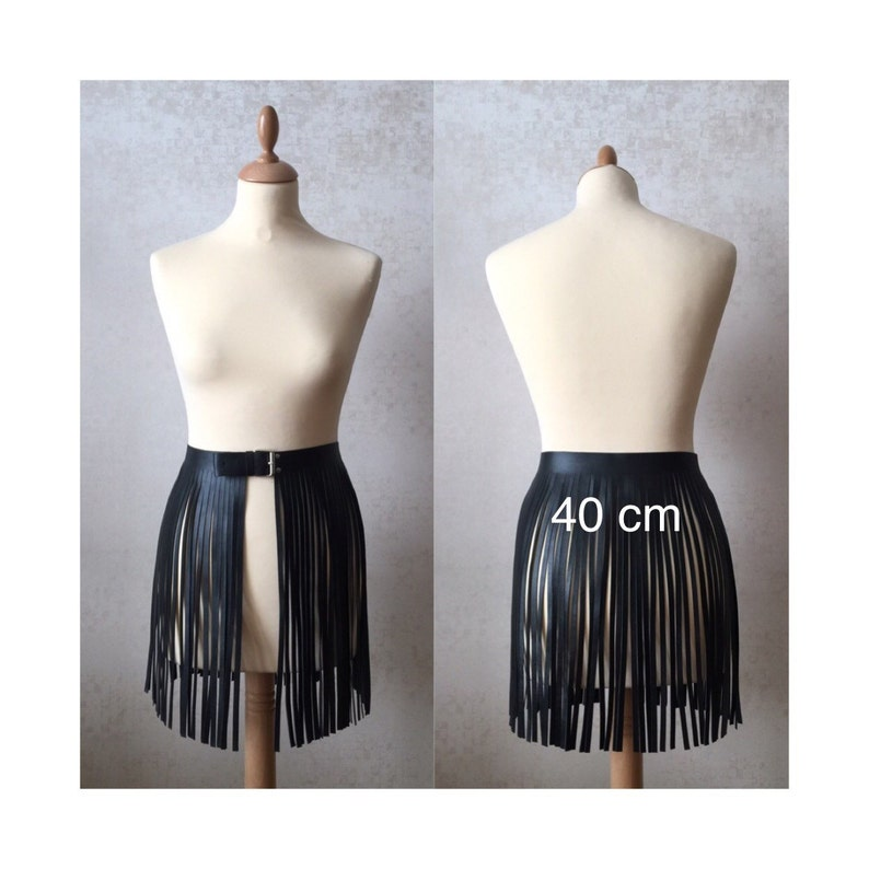 09cf18f14 Leather fringe belt skirt black dress high waisted fits with | Etsy