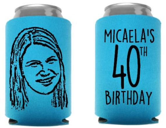 custom can coolies Cartoon Pic can coolers personal pic cartoon party favors 30th bday party bday party coolers photo beer holders