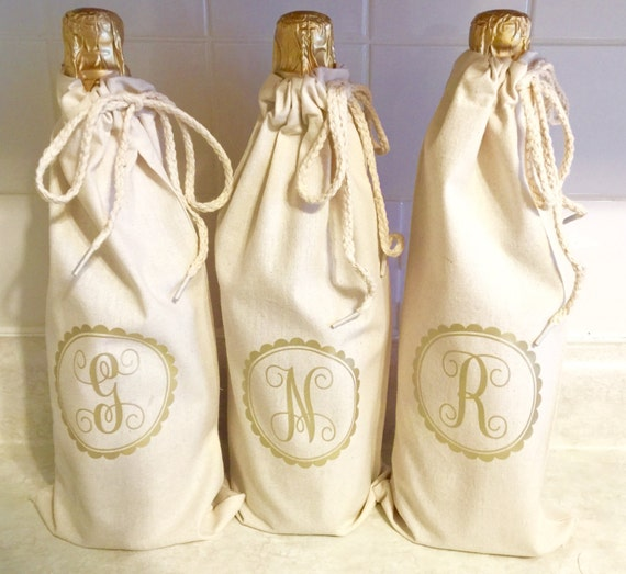 Wine tote, canvas natural bag, wedding wine, D, reusable tote gift bag,  bottle bag, wine bottle bag, thanks