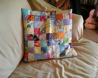 Patchwork pillow cover. Colorful and bright for your happy home