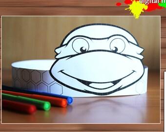 Ninja turtles Paper Crown, Coloring Crown, PDF, Instant Download
