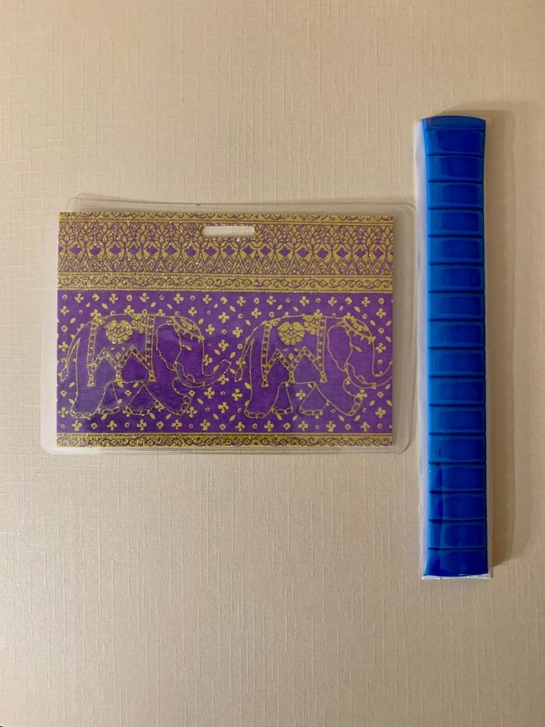 Beautiful Purple And Gold Elephants Horizontal Marker Holder Card and Putty Set!