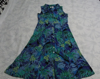46ad58082bb Dressbarn Late 80 s Sleeveless Tropical Sundress sz. 16 Button Front Rayon  Gauze