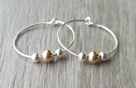 Small Silver Minimalist Hoop Earrings Silver And Gold Hoop Earrings Gold bead hoop earring
