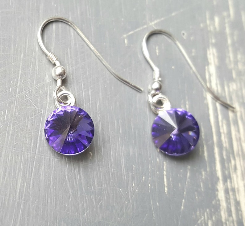 76b81c319 Tanzanite swarovski crystal and sterling silver drop earrings | Etsy