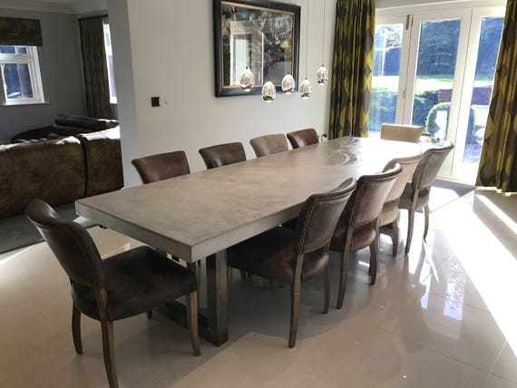 Polished Concrete Dining Table Extendable - Extendable concrete dining table