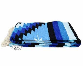 Mexican Diamond Blanket Blue White | Thick XL Mexican Yoga Blanket Sky Blue | Southwest Blanket | Baja Blanket Mexican Throw | Aztec Navajo