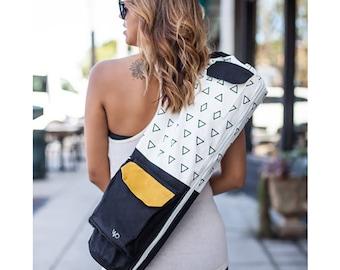 Fair Trade Yoga Bag / Organic Yoga Mat Bag / Eco Friendly Yoga Mat Carrier Tote: Black, Full Zip, Pockets, GOTS Cotton Canvas, Environmental