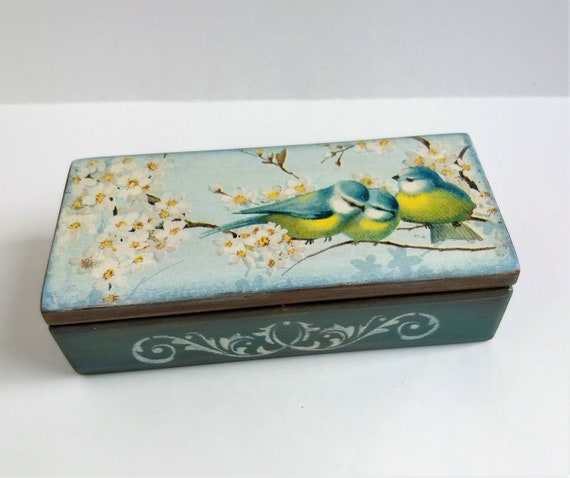 Jewelry box Wooden jewelry box Spring flowers Birds Keepsake  1d39596514