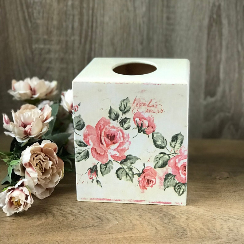 Roses Tissue Box Cover Square Wooden Kleenex Tissue Box Cover Shabby Shic