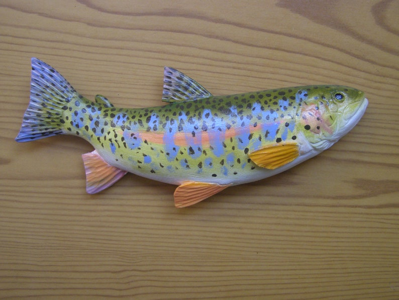 20 cm 2D sculpture of rainbow trout wood in fry coloring Mikizha wall decor hand wood carving