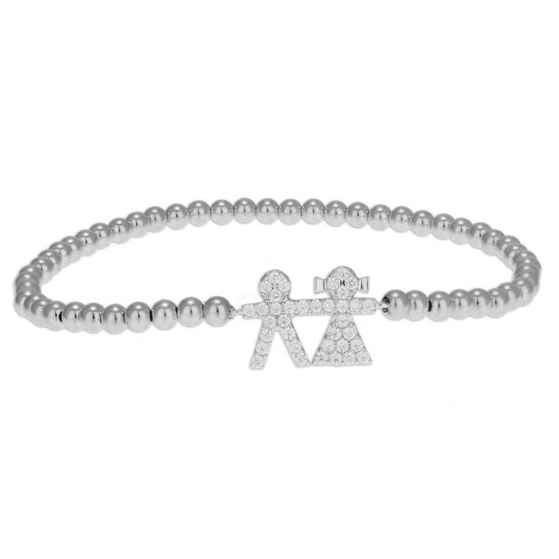 Gold Filled Beaded Boy and Girl Pendant Bracelet Sisters Bracelet