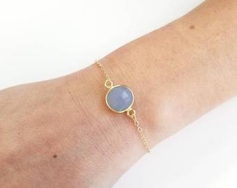 Aquamarine Quartz Pendant Sterling Silver Bracelets, 14kt Gold Filled Chain Isabella Celini, Dainty Bracelets, Gift for Her, Perfect Gift