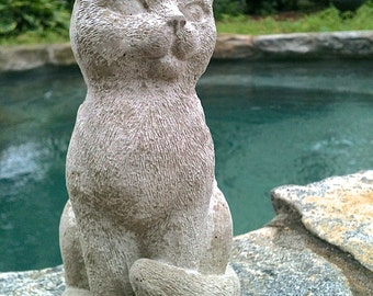 Cute Sitting Cat Statue, Concrete Garden Decor, Cat Memorial Statue,  Concrete Cat Statues, Memorial For Cat