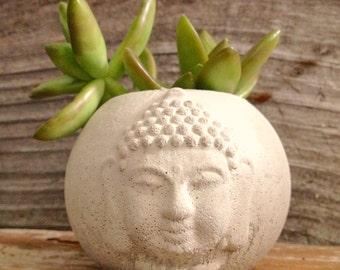 Buddha Head Planter, Succulent planter,Cacti planter, concrete Buddha head planter, Concrete Cement Home and Garden Decor, wedding gift,