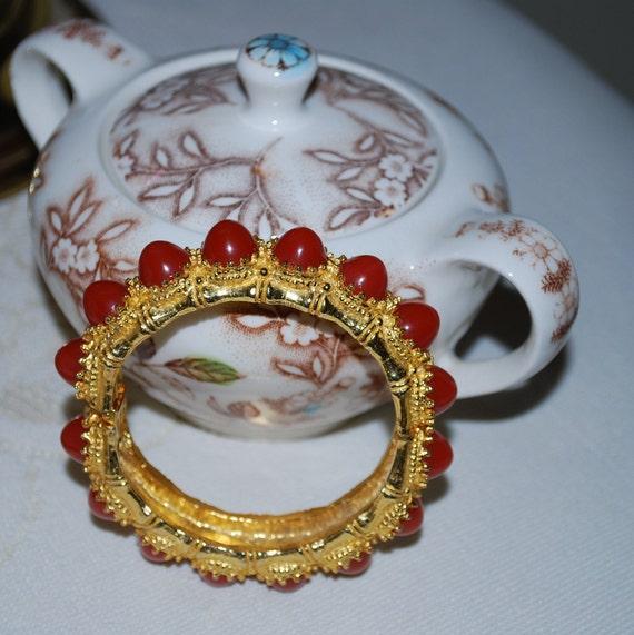 Iconic Early KJL bracelet 1960/'s Kenneth Jay Lane Bangle Red Coral Cabochon Etruscan  spring hinged bangle designer K.J.L