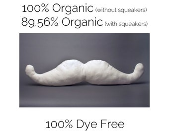 LARGE Organic Mustache Dog Toy, Undyed White Cotton Fleece, The Mustachio! from the Hipster Collection by The Green Cat Lady, LLC™, USA Made