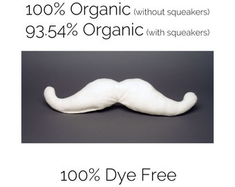 SMALL Organic Mustache Dog Toy, Undyed White Cotton Fleece, The Mustachio! from the Hipster Collection by The Green Cat Lady, LLC™, USA Made