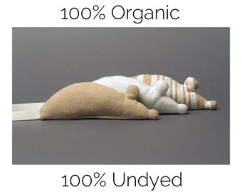 Set of 3 100% Organic Undyed Catnip Mouse Toys For Cats, Winter White Fleece Mouse, Herringbone City Mouse, & Country Stripe Mouse, USA Made