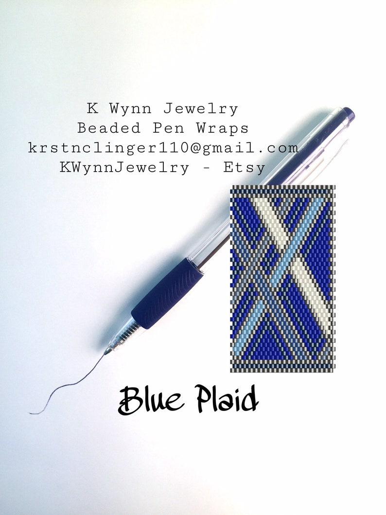 Pattern Beaded Pen Wrap Peyote Stitch PATTERN fits Pilot G2 Ink Pen Blue  Plaid Pattern with Miyuki Delica Beads