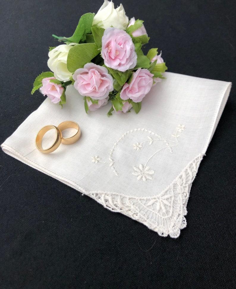 Dainty Embroidered Flowers on a Corner Lace Handkerchief Hankie Hanky Floral Wedding Hankerchief