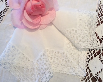Vintage White Lace Hankerchief, Wedding Hankie, Mothers Day Gift, Bridal Hanky