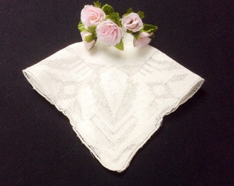 Vintage Lace Wedding Handkerchief, Embroidered Hankerchief, Floral Hankie, Cut Lace Hanky