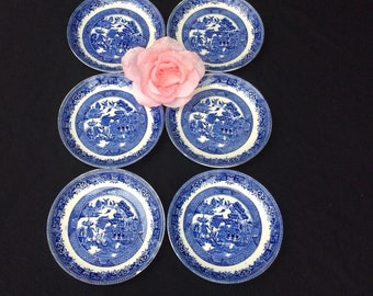 Set of 6 Blue Willow Saucers made by Royal Fenton, Ware Blue and White Transfer Ware
