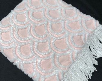 Pretty 37 Inch by 27 Inch Vintage White on Pink Chenille Bedspread Fabric Piece