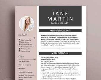 Resume Template 19 | Creative, Modern, Professional CV + Cover Letter |  With Or Without Photo | Instant Download | Microsoft Office