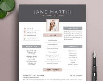 creative resume template 2 modern professional boutique style cv with photo microsoft word instant download free job seeking tools