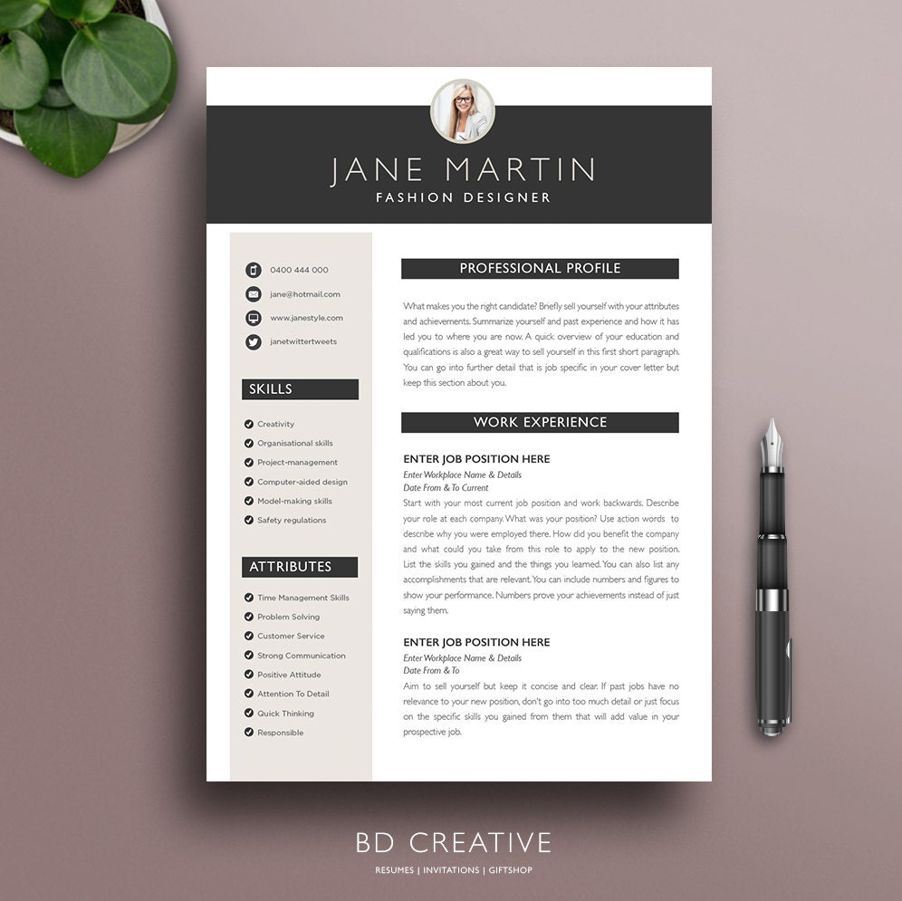 Professional Resume Template 21 Modern Creative Boutique