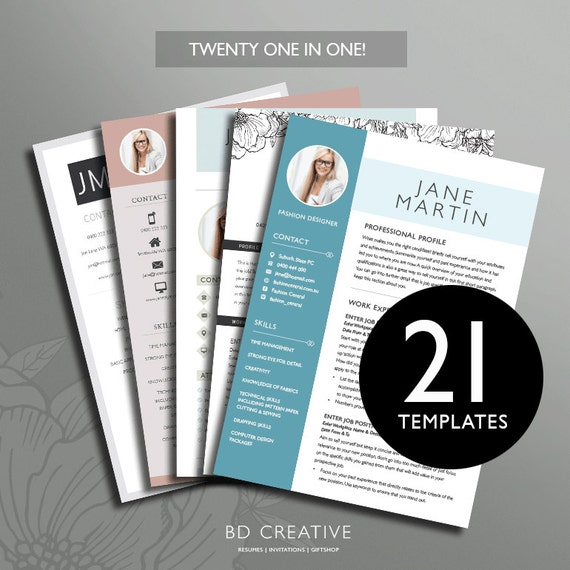 Resume Boutique Template Bundle 21 Creative Templates In 1 Professional Modern With Photos Microsoft Office