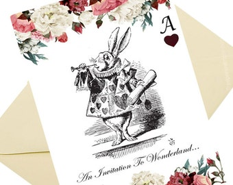 Alice In Wonderland Mad Hatters Tea Party Invitations 8 per pack with cream hammered effect envelopes