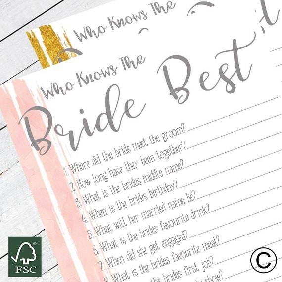 Hen Party Hen Do Who Knows Bride Best Game Cards