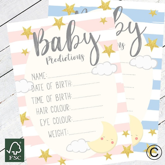 Baby Shower PREDICTION /& ADVICE Game 16 A6 Size Game for Guests Boys //Girls