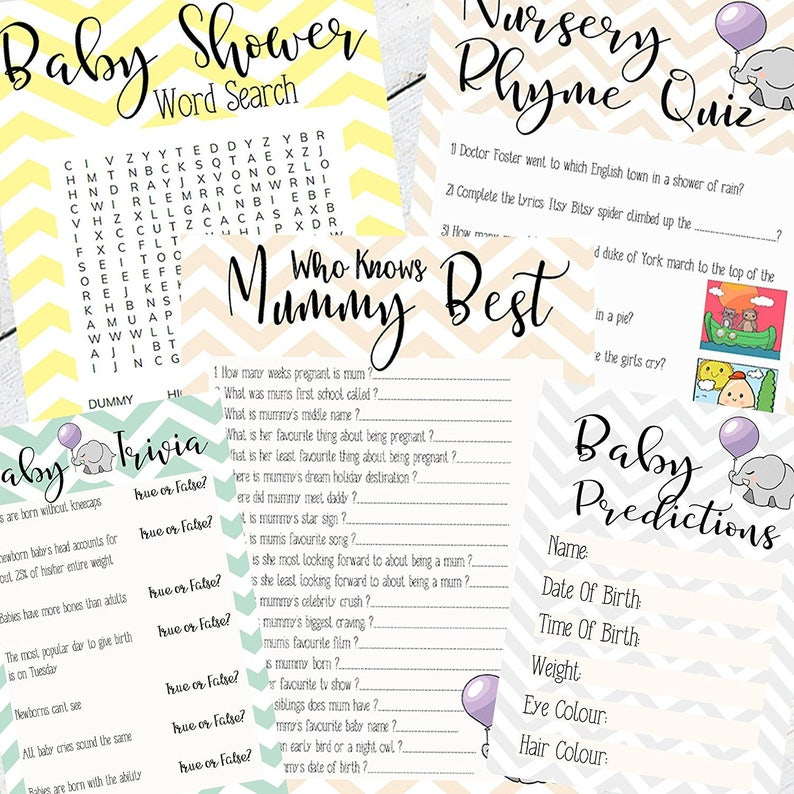 Baby Shower 5 in 1 Game Cards Gender Neutral Chevron Design Baby Boy Girl  New Mum To Be Gender Reveal Party Games Favours Ideas