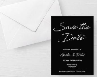 Blue watercolour modern calendar design downloadable wedding invite Wedding Save the Dates Digital Black Printable Save The Date Aqua