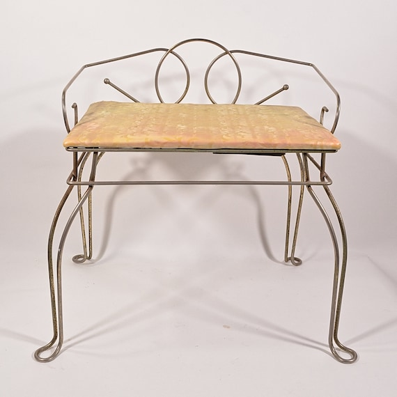 Superb Vintage 50S 60S Mid Century Vanity Stool 5 Hollywood Regency Bench Chair Home Ddecor Prop Display Free Local Pick Up Ok In Los Angles Andrewgaddart Wooden Chair Designs For Living Room Andrewgaddartcom
