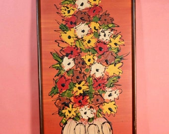 "Vintage 60s/70s Mid Century Painting on Masonite Board, Tall Impasto Floral Hipster Framed Art, 31"" x 14"""