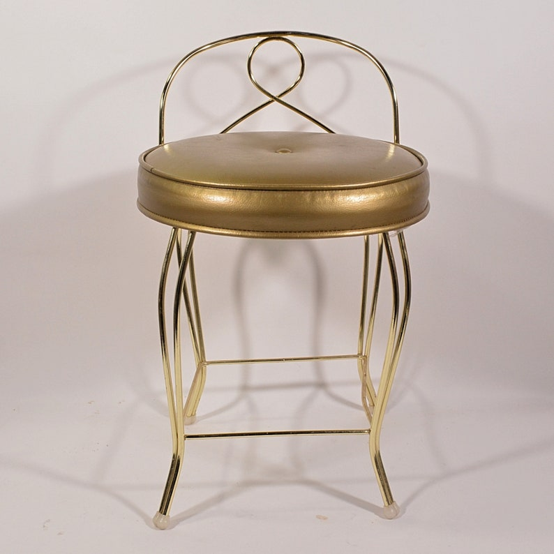 Fabulous Vintage 50S 60S Mid Century Vanity Stool 6 Gold Faux Leather Hollywood Regency By George Koch Home Decor Display Prop Andrewgaddart Wooden Chair Designs For Living Room Andrewgaddartcom