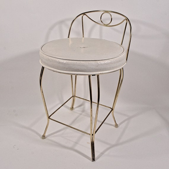 Amazing Vintage 60S Mid Century Vanity Stool 2 Hollywood Regency Seating White Faux Leather Home Decor Display Prop Andrewgaddart Wooden Chair Designs For Living Room Andrewgaddartcom