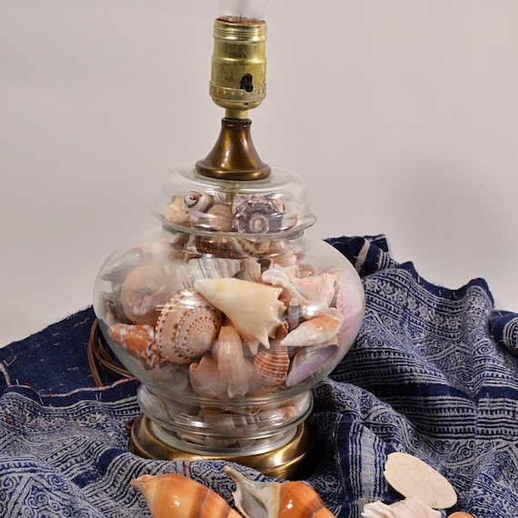 Vintage Clear Glass Genuine Seashell Ginger Jar Table Lamp Etsy