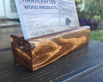 Business Card Holder, Rustic, Wood, Desk, Office, Home Office, For Desk, Counter Display, Desk Display, Co-worker Gift, Office Gift