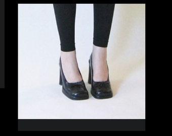 Square Toe,Rectangular Heel Vintage 90's Aldo Shoes, High Heel Black Shoes, Size 7.5