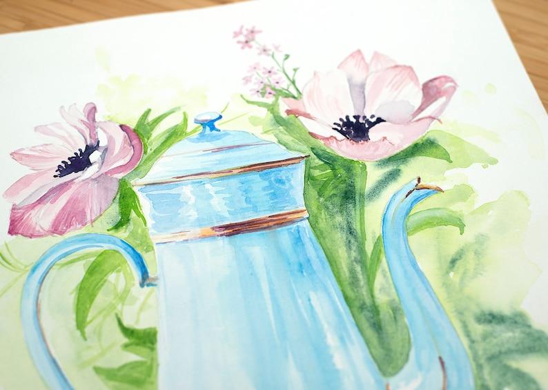 illustration teapot. wall decor Original watercolor coffee pot with flowers Art